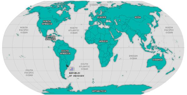 Location Of Uruguay On World Map Tidal Treasures - Map of uruguay world